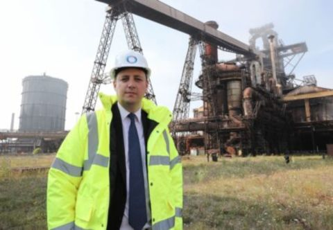 Tees Valley Mayor Ben Houchen outside the Redcar Blast Furnace the Redcar Blast Furnace Construction Enquirer